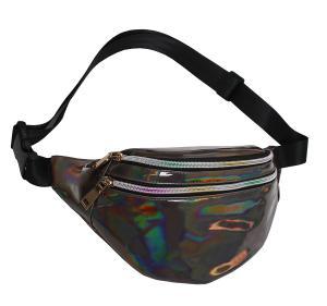 China Fashion Waist Pack Holographic Waist Bag Large Fanny Belt Laser Leather Design Bum Bag 3 Pouches Rainbow Zipper Wholesal on sale
