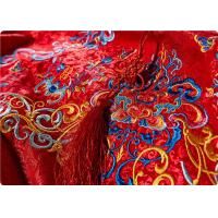 Quality High End Embroidered Fabrics , Red Chinese Wedding Dress Fabric wholesale
