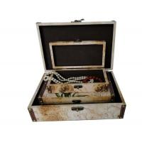 Quality PU Leather Covered Decorative Trunk Box Wooden Storage Boxes / Bins For Gift , Embossing / Hot Stamping wholesale
