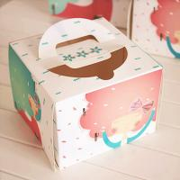 Quality Individual Window Take Away Cake Boxes Rigid Art Paper Pontone Offsent Printing wholesale