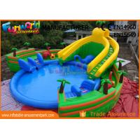 China 0.9mm PVC Tarpaulin Inflatable Water Parks , Large Dinosaur Swimming Pool And Slides on sale