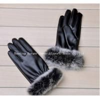 China new style 2014 fashion ladies' style leather gloves cuff with rabbit fur on sale