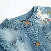 China Modern Design Embroidery Jeans Jacket For Girls , Spring Girls Jeans Coat on sale