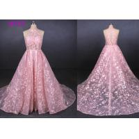 Quality Pink Halter Backless Sleeveless Lace Wedding Dress Removable Tail Bridal Gown wholesale