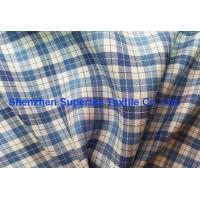 Quality Blue Twill Plaid Printed Silk Fabric In Yarn Dyed For Shirts And Dress Garment wholesale