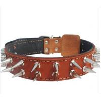 Quality hand-made cow leather pet collar with metal nail wholesale