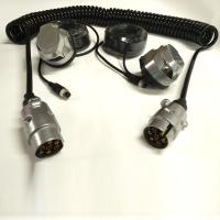 Quality PU 7 Pin Truck Curly Cable Extension Lead With Heavy Duty Metal Connector wholesale