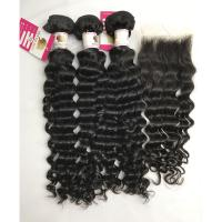 China 100% Brazilian Virgin Hair Remy Human Deep Wave Hair Bundles With Closure on sale