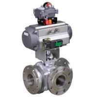 Cheap 150lb Pneumatic 3 Way Ball Valve For Water Conservancy , API 607 API 6D for sale