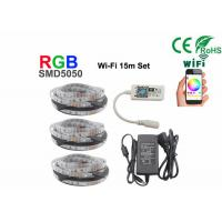China 15m Non Waterproof +Wifi Rgb 5050 Smd Led Strip With 12V Power on sale
