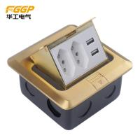 Quality Brass Golden Usb Pop Up Floor Outlet , Longlife CE Floor Electrical Sockets wholesale