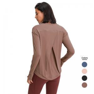 China High Stretchy Womens Long Sleeve Workout Shirts , Long Sleeve Yoga Shirts Loose Soft on sale