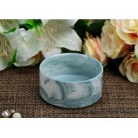 Quality Cyan Marbel Ceramic Tealight Candle Jars Round Shape Candle Holder for Party Decor wholesale