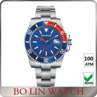 Brushed Solid Stainless Steel Divers Wrist Watches , 1000m Waterproof Watch For Swimming