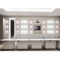 Quality Matte White Color Jewellery Display Cabinets With LED Lighting Decoration wholesale