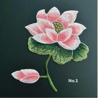 Quality Large Embroidered Flower Patches , Sew On Embroidered Appliques On Lace Fabric wholesale