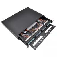 Quality 1RU 96 Fiber Rack Fiber Optic Patch Panel Duplex LC Adapter With Splice Tray wholesale