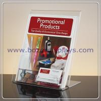 Slant-back Clear Acrylic Literature Holder With Business Card Pocket for sale