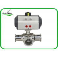Cheap Clamped Sanitary 3 Way Ball Valve / Stainless Steel Pneumatic Ball Valves for sale