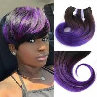 China 8A Grade Snail Curl Hair Extension Short 8 inches Ombre 1b to Purple in stock on sale