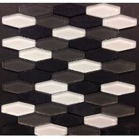 Quality Carbon Blend Hexagon Glass Mosaic Tile White Grey Black Mosaics Bush Hammered wholesale