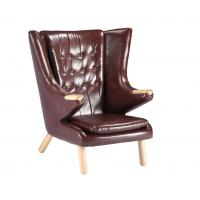 Quality Living Room Leather Lounge Chair / Papa Bear Chair Soft Feeling With Ottoman wholesale