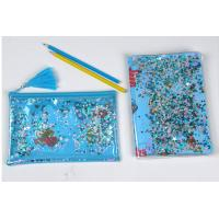 Quality Clear Sewing PVC Cosmetic Bag Blue Star Glitter Plastic Makeup Pouch With Confetti wholesale