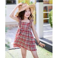 Buy cheap 2-6year girls Summer dresses  100% cotton plaid skirt with shoulder-straps from wholesalers
