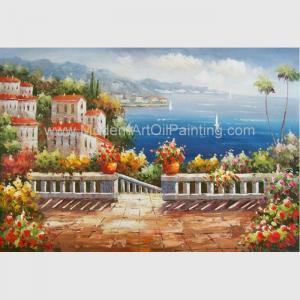 Handmade Mediterranean Landscape Oil Painting Garden Scene Oil Painting for Decor