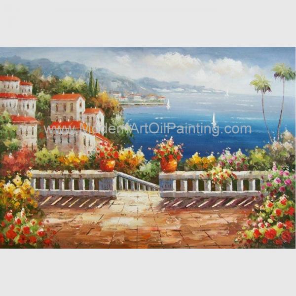 Cheap Handmade Mediterranean Landscape Oil Painting Garden Scene Oil Painting for Decor for sale
