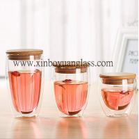 China Double wall glass cup / coffee cup /glass cup with bamboo lid on sale
