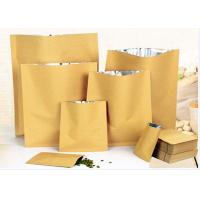 Quality Zip Lock White Kraft Paper Pouch , Stand Up Zipper Pouch Bags With Matte Window wholesale