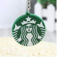 China 4.5cm round shape Starbucks silicone mermaid key chain on sale
