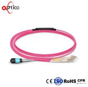Quality Customized 8-24 Fibers OM4 Multimode MTP Fiber Cable , 12 Strands HD BIF MTP Breakout Cable wholesale