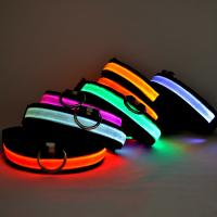 China Adjustable Rechargeable Nylon Pets Safety Pet Dog Collar necklace with LED flashing light on sale
