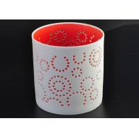 Quality Decorative Red Ceramic Candle Holder Spraying For Home Votive wholesale