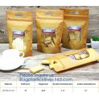 China stand up zipper pouch doy bag,Food packaging zipper Kraft paper bag PE aluminum laminated foil pouch,snack food packagin on sale