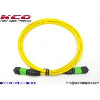 China 8 Core 12 Fiber MPO / APC Single Mode G657A2 Optical Fibre Patch Cable LSZH Yellow on sale