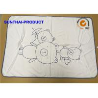 Buy cheap Bear Screen Print Plush Baby Blankets Round Corner 100% Cotton Jersey 2 Layers from wholesalers