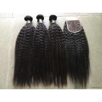 China Grade 8A Peruvian Curly Hair Extensions Kinky Straight With 4x4 Closure on sale