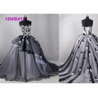 Quality Tulle Black And White Bridesmaid Dresses , Strapless Two Color Bridesmaid Dresses wholesale