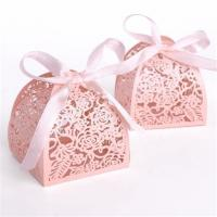Quality Wedding Small Candy Boxes , Pink Color Mini Paper Gift Box Offset Printing wholesale