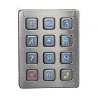 Quality Weather proof illuminated 12 keys stainless steel access door control keypad with CE cert wholesale