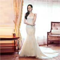 Quality Girls sexy Mermaid Backless Sweetheart Lace Wedding Dress with chapel train wholesale