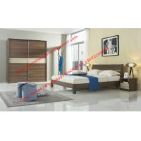 Quality Wood & Panel furniture in modern deisgn Walnut color by KD bed with Sliding door wardrobe wholesale