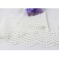 Quality White Floral Scalloped Embroidered Lace Trim , Venice Eyelet Bridal Lace Ribbon wholesale