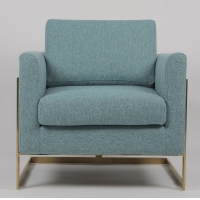 China 85cm Height Blue Fabric Armchair With Gold Stainless Steel on sale