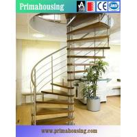 Quality Wood Tread Steel Railing Loft Spiral Staircase For Small Places Space Saving wholesale