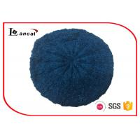 Quality Cable Pattern Womens Knit Beret Hat Acrylic Fabrics With Dark Blue Lurex wholesale