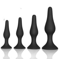 Quality Couple pleasure body safe Anal Sex Toys 4 Piece purple black Silicone Anal Plug butt plug Set wholesale